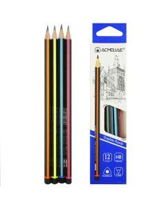 """Олівець дерев'яний, чорнографітний, загострений, трикутний, НВ, """"Смугастий"""", Acmeliae"""