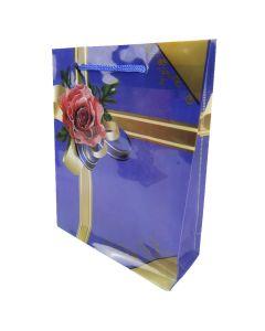"""Пакет подарунковий, 8х20х25 см, пластиковий, """"Квітка з бантиком"""" (Фіолетовий колір)"""