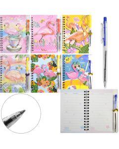 Блокнот, бічна спіраль, 10х14 см, 38 аркушів, картонна фігурна обкладинка, з ручкою, Sat (Mix)