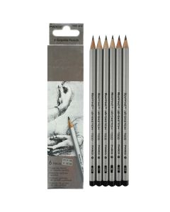 """Набір олівців, дерев'яних, чорнографітних, 6 штук, 2Н-3В, різної твердості, """"Raffine"""", Marco"""