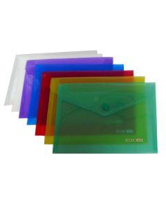Папка-конверт, А5, на кнопці, 180 мкрн, прозора, фактура глянець, Economix (Mix)