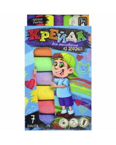 Крейда кольорова 7 кольорів 7 штук кругла асфальтна в коробці 11х20х2.5 см Danko Toys