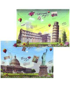 """Папка-конверт, 34,5х24,5 см, на кнопці,  фактура глянець, """"Міста світу"""""""