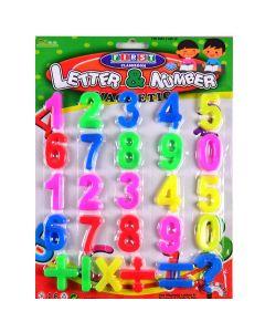 Набір магнітів: 26 штук, діаметр - 3,5 см, кольорові, на планшеті 28х21,''Цифри й знаки''