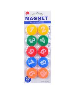 """Набір магнітів: 10 штук, діаметр - 3 см, кольорові, на планшеті, """"Цифри"""", Sat"""