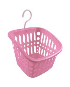 Кошик для прищіпок, 15х16х12 см, з гачком, кольоровий (Рожевий колір)