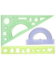 Набір предметів для креслення, 3 штуки, лінійка - 20 см, пластиковий, прозорий, кольоровий