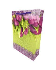 Пакет, 24х34х8,8 см, картонний, ламінований, Фолио+ (Тюльпани)