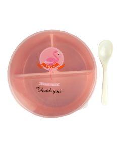 Контейнер 15х55 см для їжі пластиковий круглий з ложкою (Рожевий колір)
