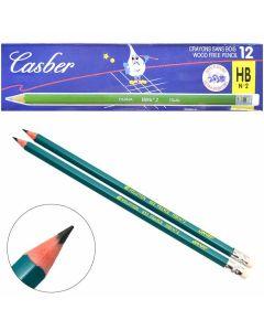 Олівець пластиковий, чорнографітний, НВ, загострений, з ластиком, Casber