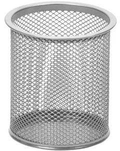 Стакан для ручок, металевий, круглий,  срібний Leader